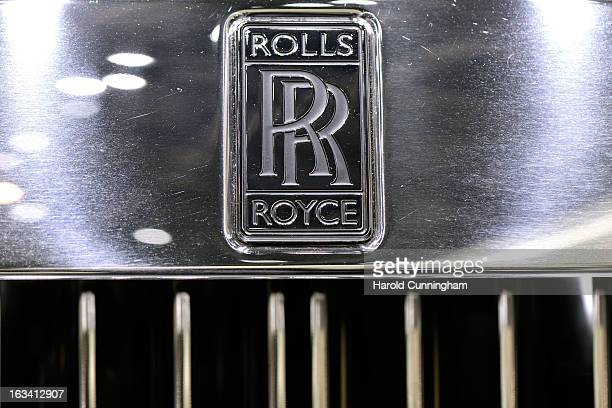 The RollsRoyce logo is seen during the 83rd Geneva Motor Show on March 6 2013 in Geneva Switzerland Held annually with more than 130 product premiers...