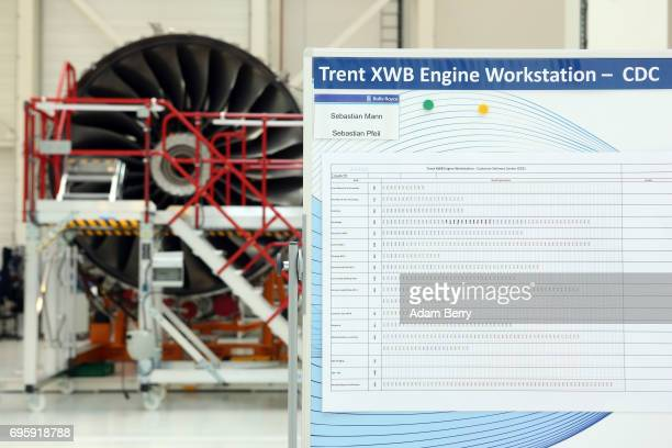 The RollsRoyce Trent XWB airplane engine to be used in the Airbus A350 XWB aircraft is seen on the engine's assembly line on June 14 2017 in Berlin...