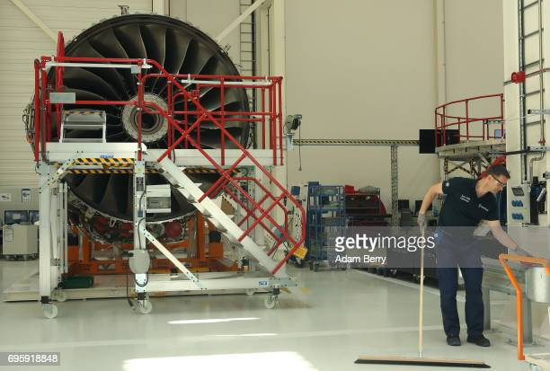 The RollsRoyce Trent XWB airplane engine to be used in the Airbus A350 XWB aircraft is seen on its assembly line on June 14 2017 in Berlin Germany...