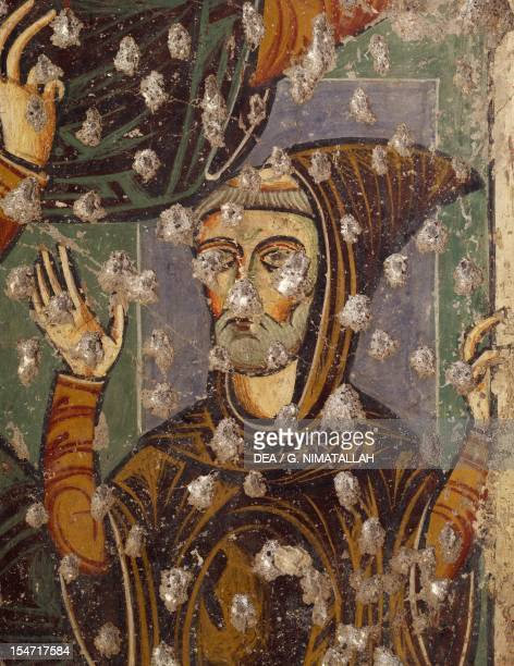 The Roman Abbot detail from a fresco by the Master of Pope Innocent's III Bull The Lower Church of Sacro Speco Monastery Subiaco Italy 13th century