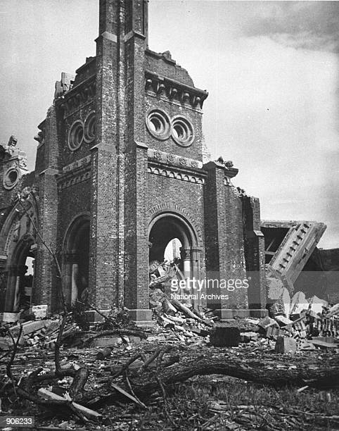 The Roman Catholic cathedral is destroyed after an atomic bomb was dropped August 8 1945 in Nagasaki Japan