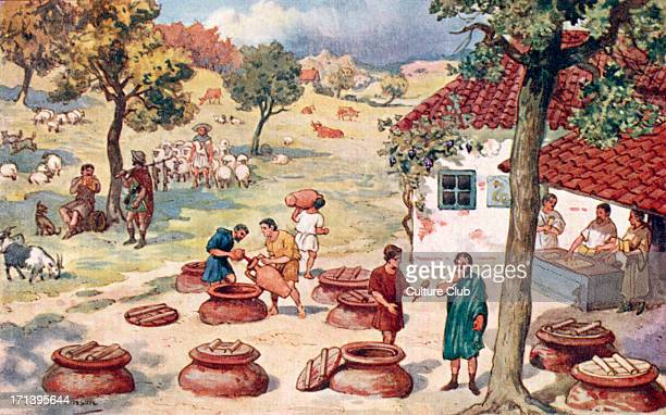 The Roman Empire shepherds and wine makers / sellers in the countryside Field fields peasant peasants meadow lamb lambs jug pitcher goat goats...