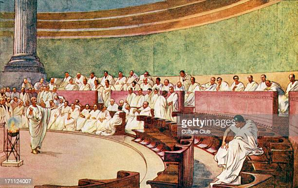 The Roman Empire the Senate assembled in a temple White tunic council toga togas Illustration by J Williamson