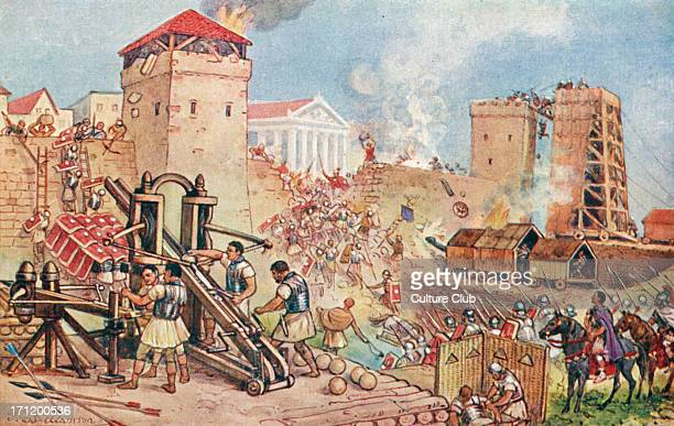 The Roman Empire the siege Rampart ramparts citadel citadels fortress catapult soldier soldiers armor Illustration by J Williamson