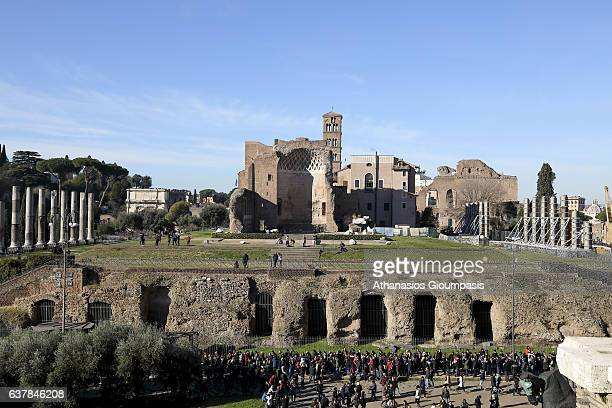 The Roman Forum on December 31 2016 in Rome Italy The Roman Forum is a rectangular forum surrounded by the ruins of several important ancient...