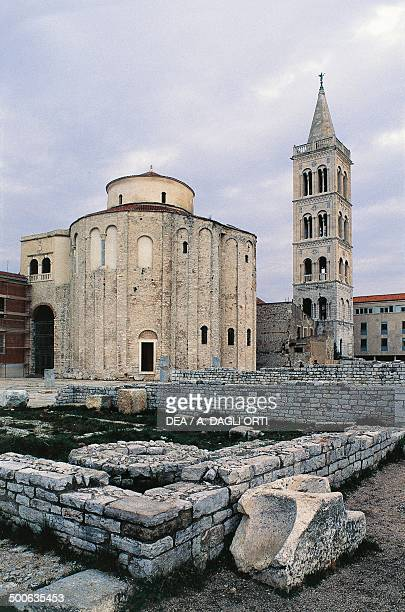 The Roman Forum with the Church of San Donato and the bell tower of the Cathedral of St Anastasia Zadar Croatia 9th century
