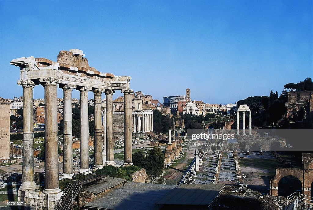 The Roman Forum with the Temple of Saturn in the foreground Rome Italy