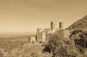 The Romanesque abbey of Sant Pere de Rodes in Cap de Creus Natural Park, in the municipality of El Port de la Selva. Girona, Catalonia