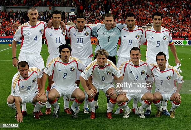 The Romania team from left rear with Gabriel Tamas Daniel Palcu Adrian Mutu Bogdan Lobont Claudiu Niculescu and Cristian Chivu and Dorinel Munteanu...