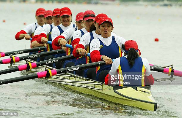 The Romanian crew power away during the Women's Eights during the Women's Quadruple Sculls during the Bearing Point Rowing World Cup on May 8 2004 in...