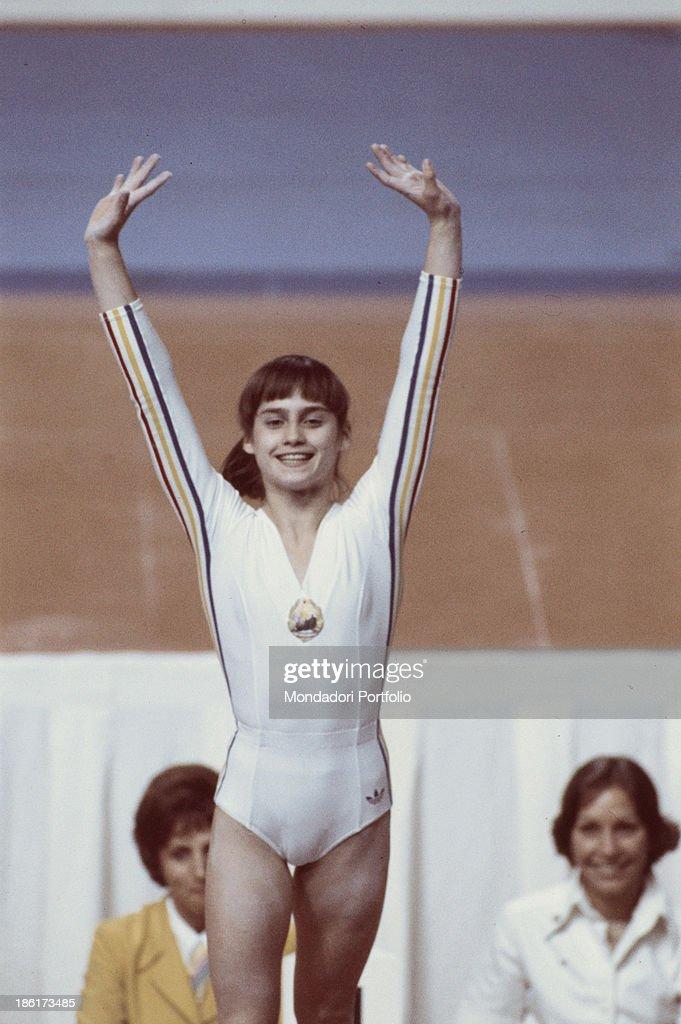 The romanian gymnast Nadia Comaneci at Montréal Olympic games Montréal Canada 1976