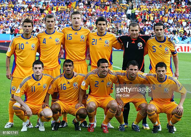 The Romanian team pose during the UEFA EURO 2008 Group C match between Romania and France at Letzigrund Stadion on June 9 2008 in Zurich Switzerland