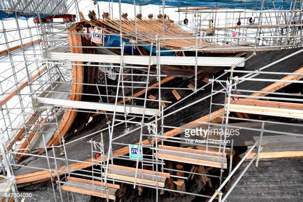 The 'Romon' gate of Aso Jinja Shrine repairing work continues on March 2 2017 in Aso Kumamoto Japan The gate which was demolished by series of...
