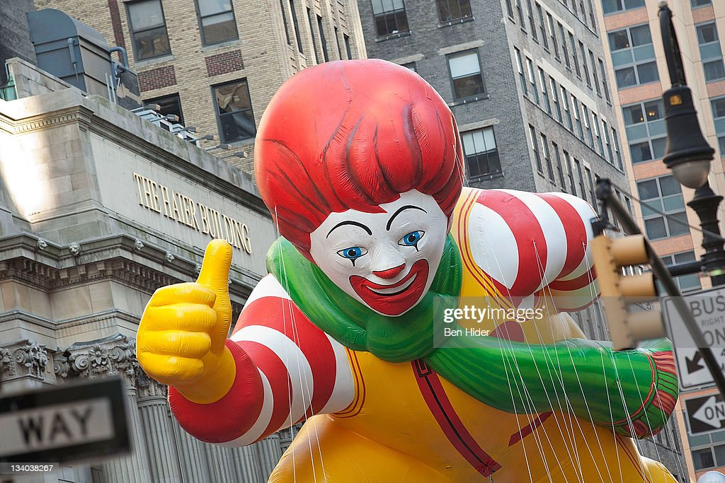 The Ronald McDonald balloon floats in Macy's Legendary Thanksgiving Day Parade on November 24, 2011 in New York City.