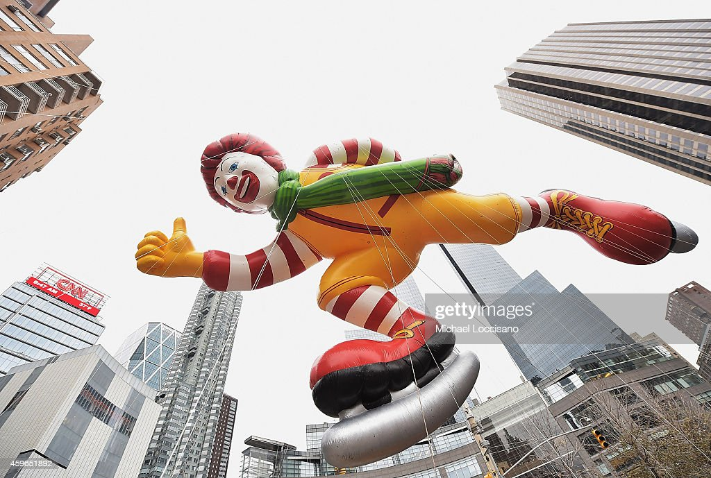 The Ronald McDonald balloon passes by during the 88th annual Macy's Thanksgiving Day Parade on November 27 2014 in New York City Over 8000 people...