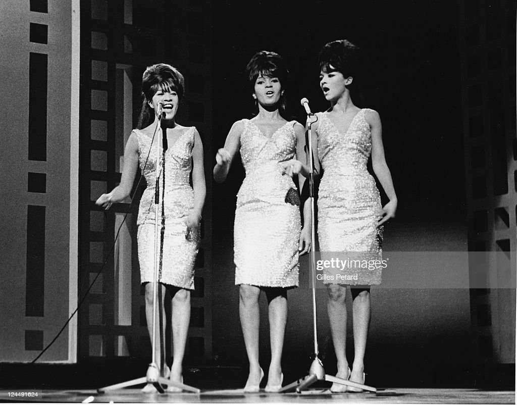 The Ronettes perform on stage, USA, 1963, Ronnie Spector;Estelle Bennett;Nedra Talley.