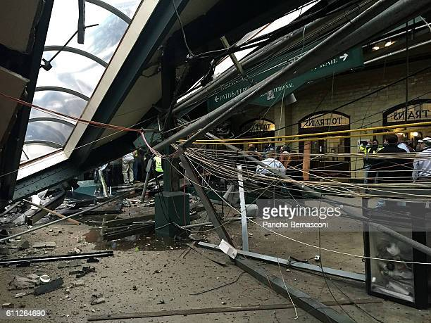 The roof collapse after a NJ Transit train crashed in to the platform at the Hoboken Terminal September 29 2016 in Hoboken New Jersey New Jersey...