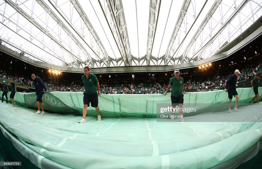 The roof is closed and the court is covered in centre court on day two of the Wimbledon Lawn Tennis Championships at the All England Lawn Tennis and Croquet Club on June 28, 2016 in London, England.