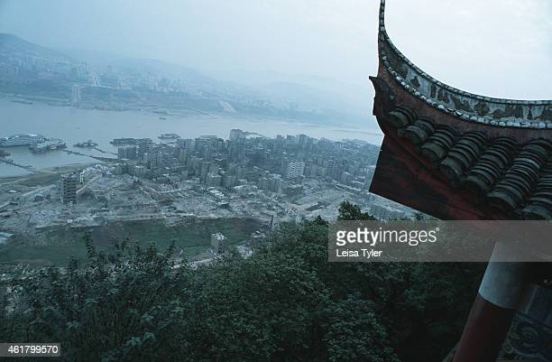 The roof of an old temple on Ghost Mountain an auspicious ridge overlooking the city of Fengdu and the Yangtze river Legend has it that Ghost...