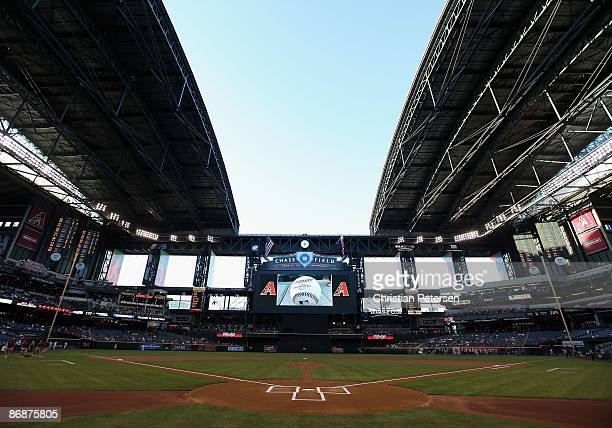 The roof of Chase Field is opened prior to the game between the Washington Nationals and the Arizona Diamondbacks on May 8 2009 in Phoenix Arizona...