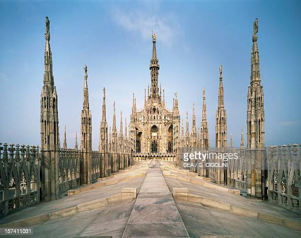 The roof of the central nave of Milan Cathedral in the center the spire with a statue of the Virgin Mary 1774 Italy 18th century