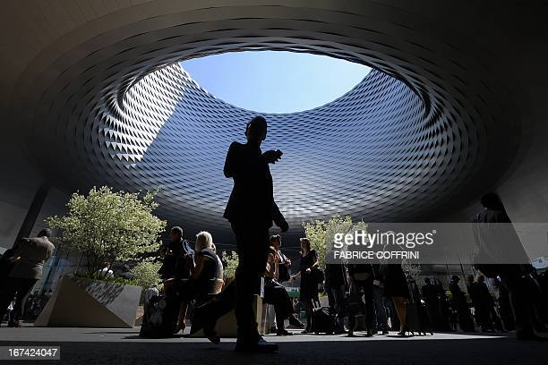 The roof of the new exhibition halls designed by Basel architects Herzog de Meuron is seen on the opening day of watch fair Baselworld on April 25...