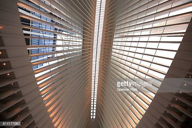 The roof of the Oculus of the partially opened World Trade Center Transportation Hub is viewed after nearly 12 years of construction on March 7 2016...