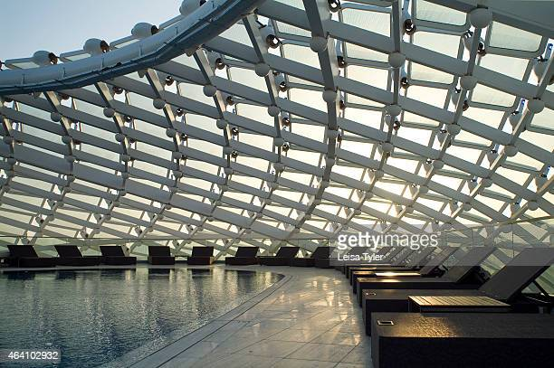 The roof top pool at the Yas Viceroy Hotel in abu Dhabi straddling the city's Formula One circuit on a manmade island just north of the city center...