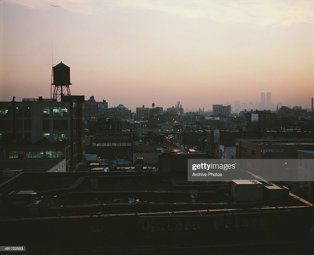 The rooftops of Brooklyn in New York City USA showing the water tower circa 1960