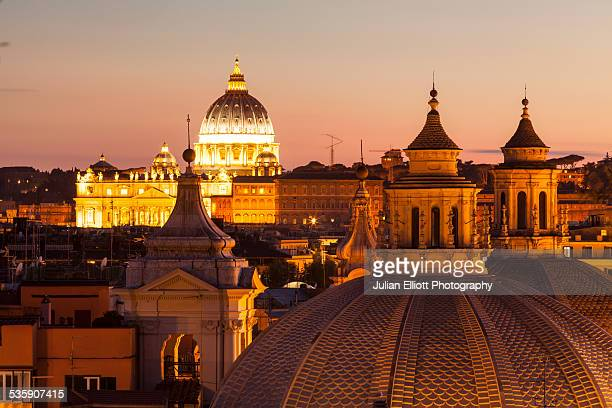 The rooftops of Rome and Saint Peter's basilica