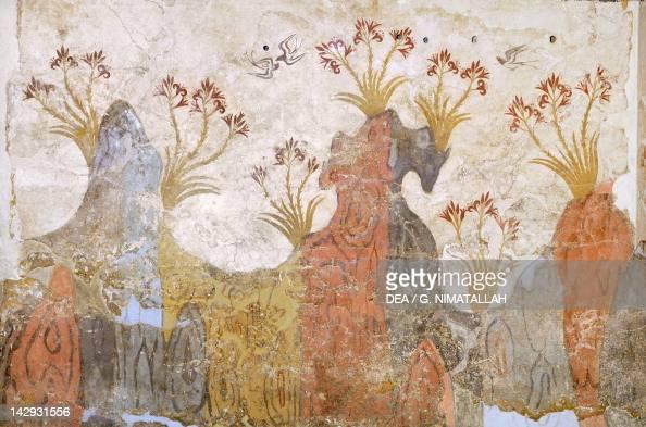 The room of lilies or spring Akrotiri fresco Thera Minoan Civilization 16th Century BC Athens Ethnikó Arheologikó Moussío