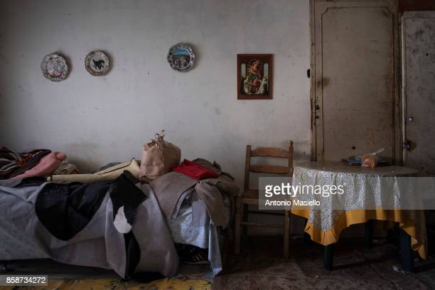 The room of Rada from Serbia in an occupied building on October 4 2017 in Rome Italy For the last 5 years hundreds of people including Italians Roma...