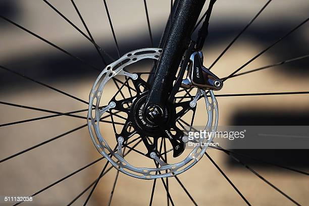 The Roompot Oranje Peloton team are using disc brakes at the 2016 Tour of Oman a 1765km road stage from Al Sawadi Beach to Naseem Beach on February...