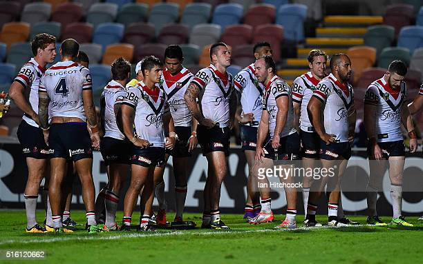 The Roosters stand in goal waiting for a conversion attempt during the round three NRL match between the North Queensland Cowboys and the Sydney...