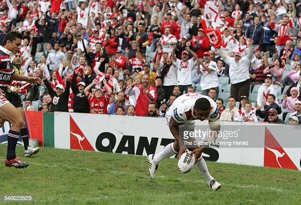 The Roosters' Wes Naiqama scores his second try during the NRL Round 7 match between the Sydney Roosters and St George Illawarra Dragons at Aussie...