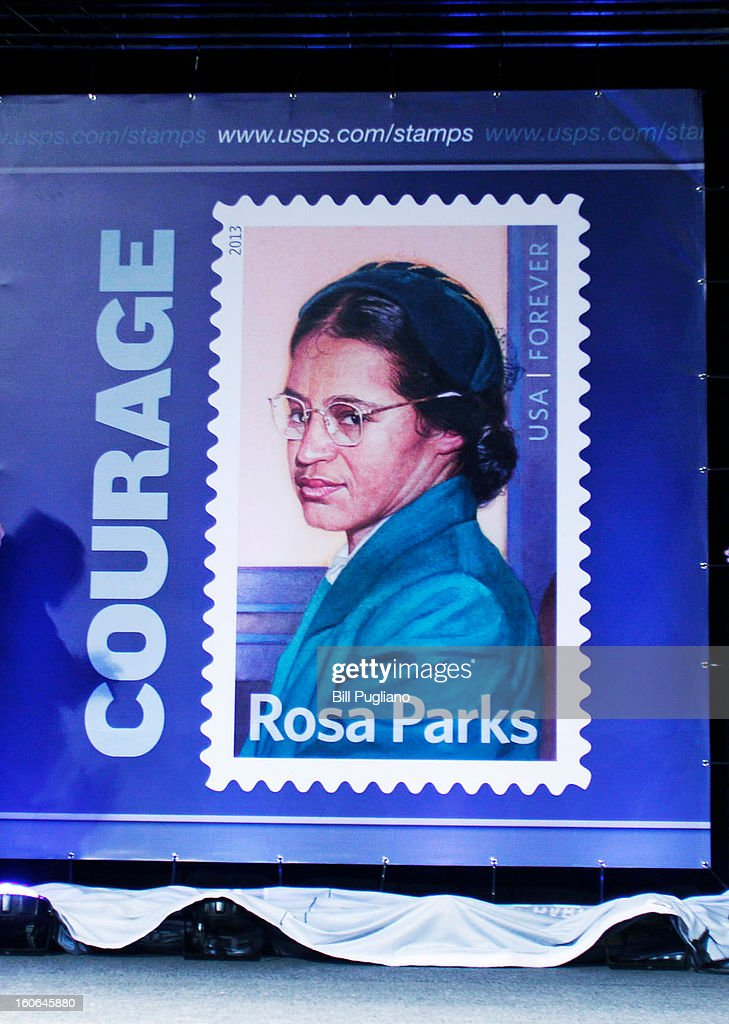 The Rosa Parks commemorative stamp issued by the U.S. Postal Service is unveiled February 4, 2013 at The Henry Ford in Dearborn, Michigan. The stamp went on sale February 4, 2013, what would have been Rosa Park's 100th birthday.
