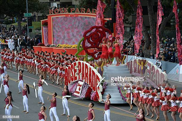 The 'Rose Cast' of 250 performers opens the 128th Rose Parade in Pasadena California January 2 2017 The Rose Parade also known as the Tournament of...