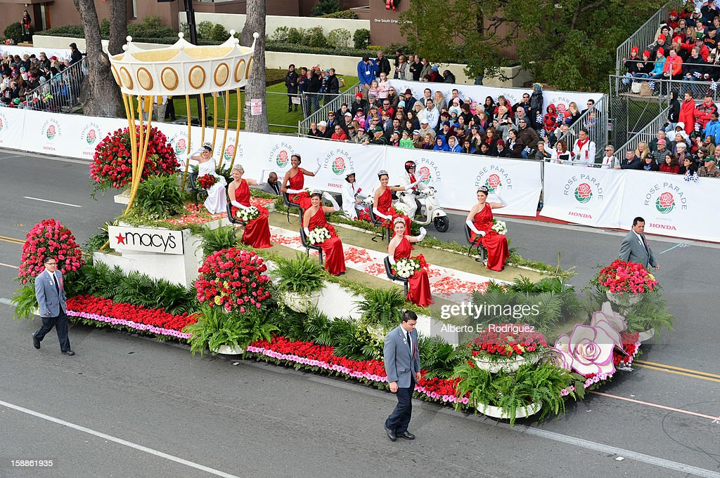 The Rose Queen and her court ride on the Macy's float in the 124th Tournamernt of Roses Parade on January 1, 2013 in Pasadena, California.
