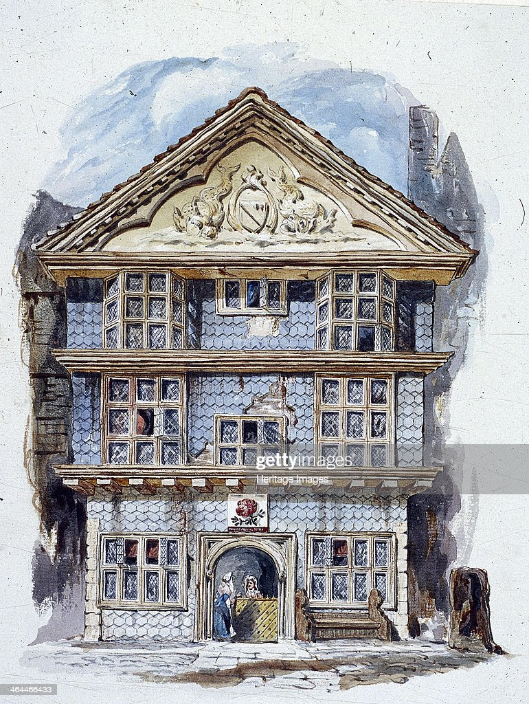 The Rose Tavern Fenchurch Street London Tilehung facade of the Rose Tavern as it appeared in about 1730 The pediment is decorated with relief...