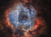 An astronomical long time exposure, taken at the Baerenstein Observatory in Baerenstein, Germany. NGC 2244 is an open cluster in the Rosette Nebula, which is located in the constellation Monoceros. Th
