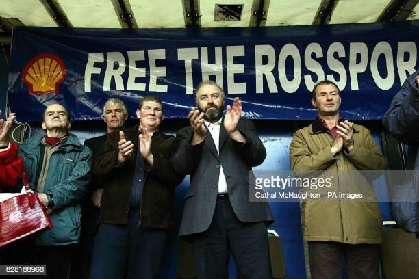 The Rossport Five Micheal O'Seighin Brendan Philbin Philip McGrath Willie Corduff and Vincent McGrath attend a rally for justice in Dublin Saturday...