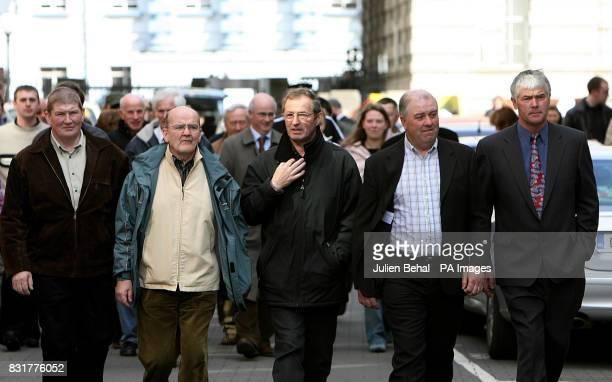 The Rossport Five Philip McGrath Michael O'Seighin Vincent McGrath Willie Corduff and Brendan Philbin leave the High Court Dublin Friday April 7 2006...