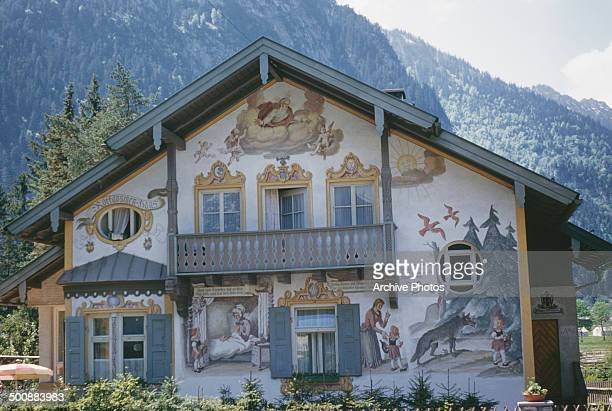 The Rotkäppchenhaus or 'Little Red Riding Hood House' in Oberammergau Germany circa 1960