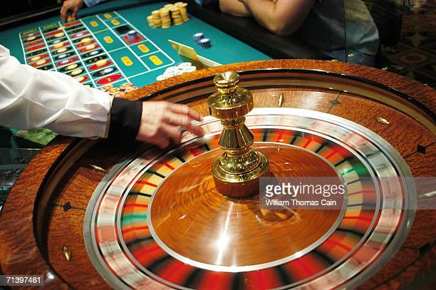 The roulette wheel spins at Caesars Atlantic City July 8 2006 in Atlantic City New Jersey Caesars along with Atlantic City's 11 other casinos reopend...