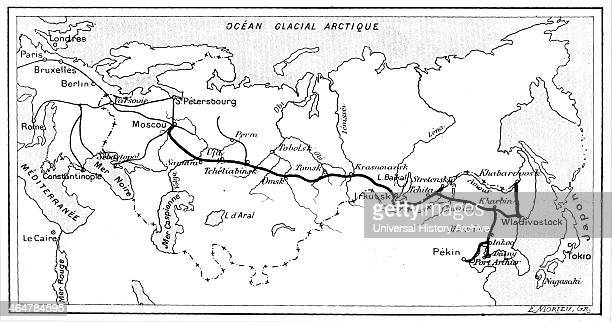 The route of the Trans Siberian Railway From 'La Nature' Paris 1904 Engraving