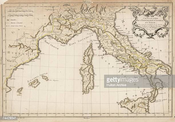 The route taken by Hannibal and the Carthaginian army through Spain France and the Alps to Italy during the Second Punic War between Rome and...
