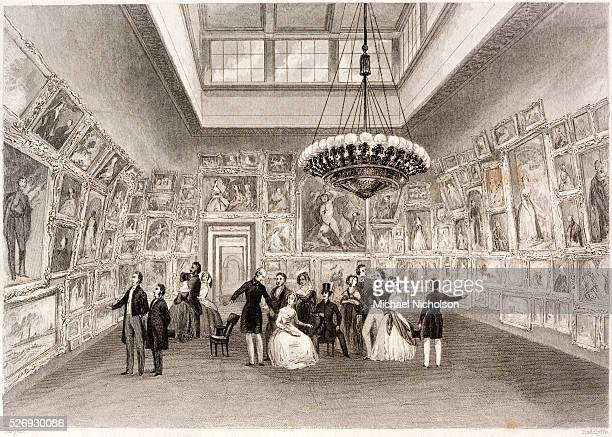 The Royal Academy a private view Engraving by Edward Radclyffe