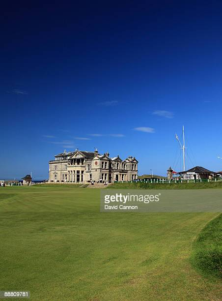 The Royal and Ancient Golf Club of St Andrews Clubhouse and the green on the par 4 18th hole on the Old Course on July 2 2009 in St Andrews Scotland