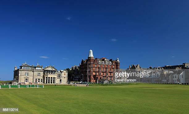 The Royal and Ancient Golf Club of St Andrews Clubhouse with the 1st tee and the par 4 18th hole on the Old Course on July 2 2009 in St Andrews...
