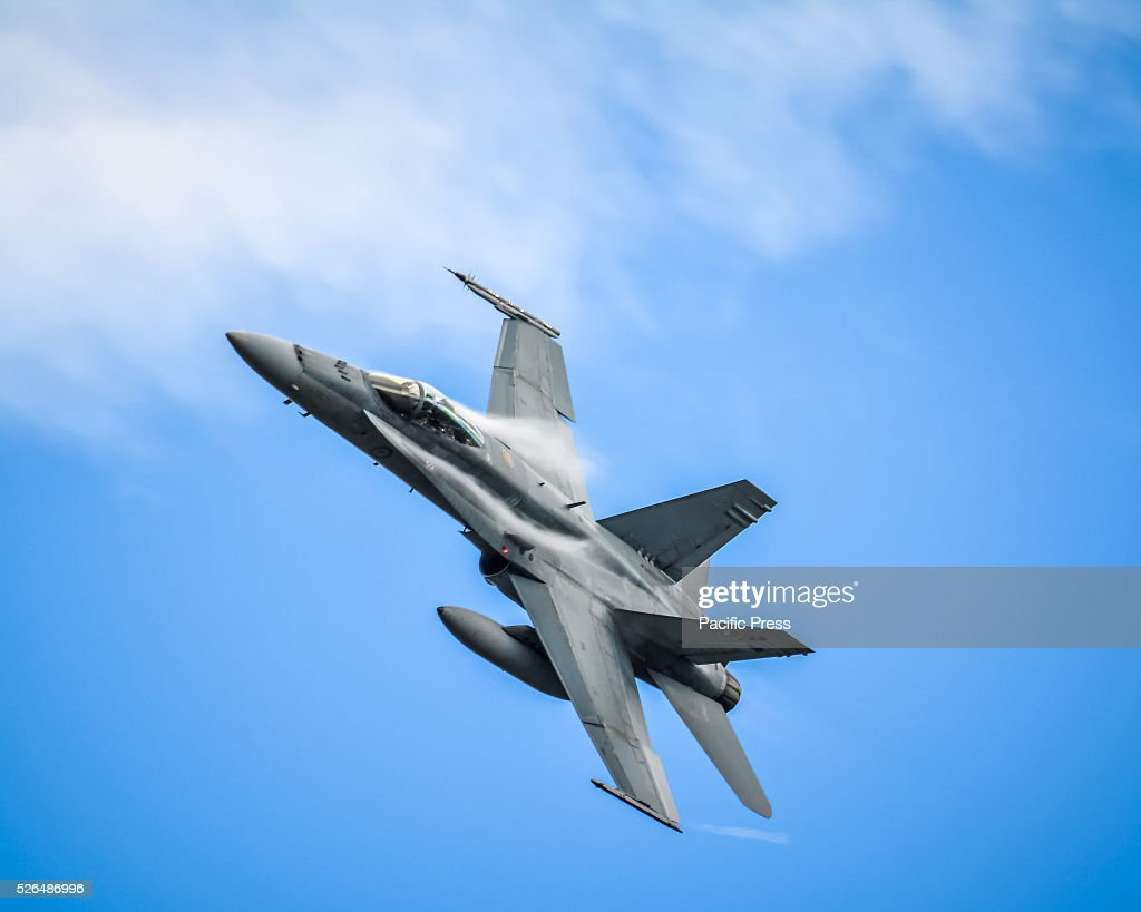 The Royal Australian Air Force F/A-18 Hornet first air display at the annual 'Wings Over Illawarra' Airshow at the Illawarra Regional Airport.